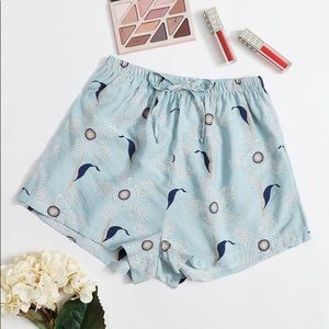 New Women's Blue Pajama Sleep Shorts